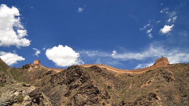 The Great Wall, Border, Mountains, Blue Sky