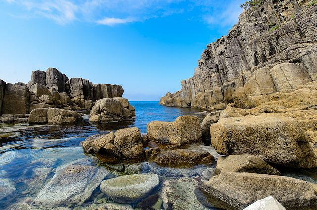 Sea, Water, Rock, Sky, Blue, Japan, Japan Sea