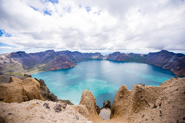 Changbai Mountain, Tianchi, The Crater, Blue Sky