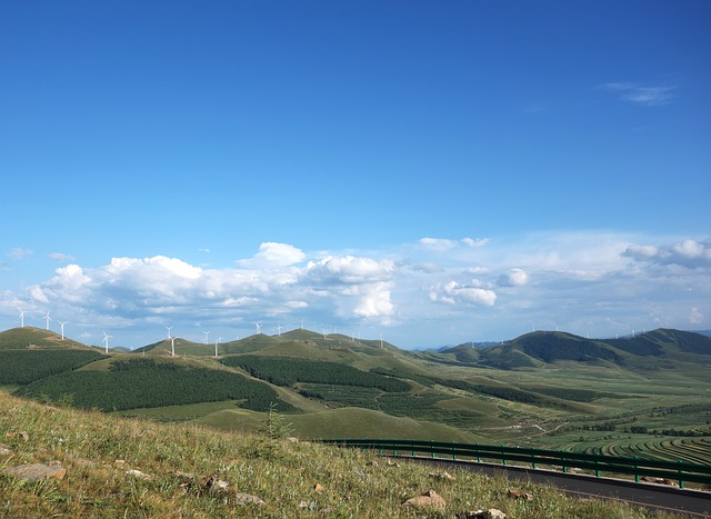 The Mountains, Windmill, White Cloud, Blue Sky