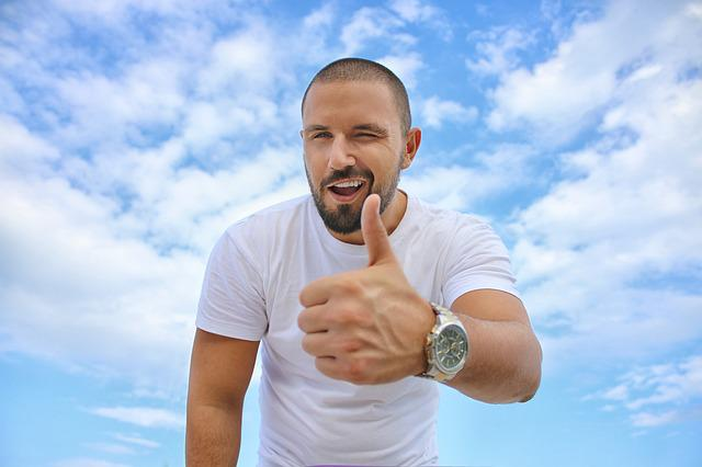 Young Man, Blue Sky, Thumbs Up, Luxury Watch, Success