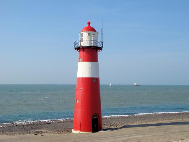 Lighthouse, Netherlands, Coast, Blue Sky, Zealand, Sea