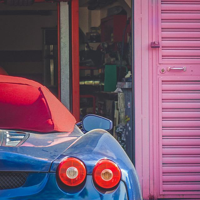 Ferrari, Blue, Garage, Industry, Sports Car
