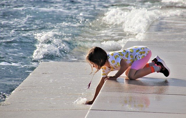 Wave, Stairs, Sea, The Coast, Child, Blue Summer, Fun