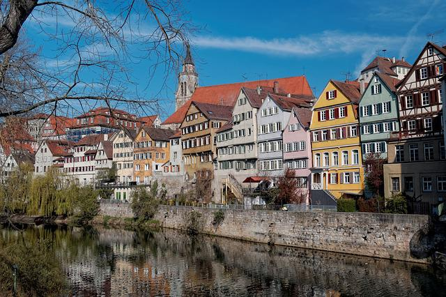 Tübingen, Houses, Facade, Blue, Sky, Water, Mirroring