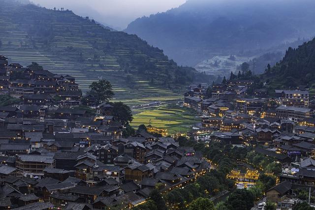 Blue Village, Village, Qianhu Miao Village, Night View