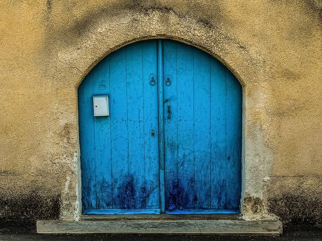 Door, Wooden, Blue, Wall, Architecture, Traditional