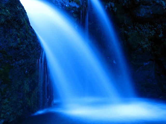 Water, Waterfall, River, Blue Water, Blue Waterfall