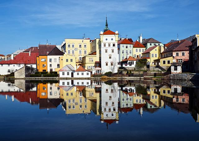 Houses, Water, South Bohemia, Architecture, Blue