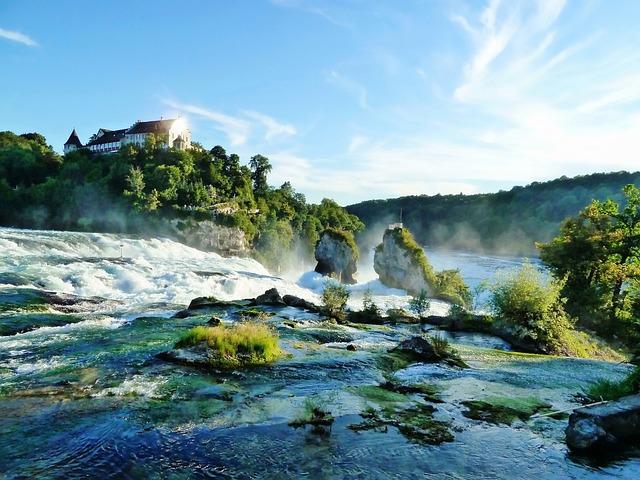 Schaffhausen, Waterfall, Water, Sky, Rock, Green, Blue