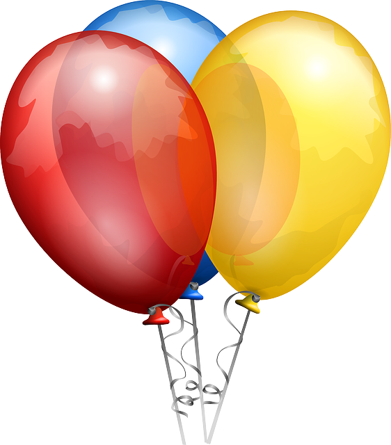 Balloons, Red, Blue, Yellow, Shiny, Helium, Bunch