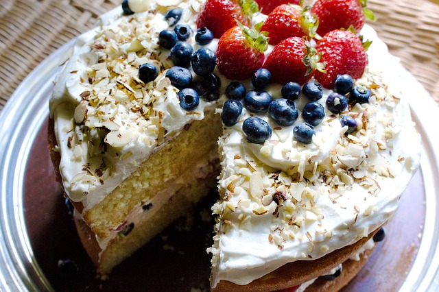 Berries, Birthday, Blueberries, Cake, Cream