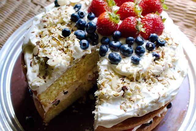 Berries, Birthday, Blueberries, Cake, Cream