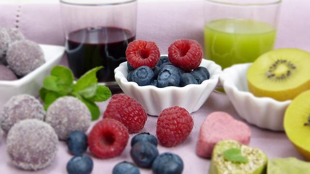 Fruit, Fruits, Blueberries, Kiwi, Raspberries