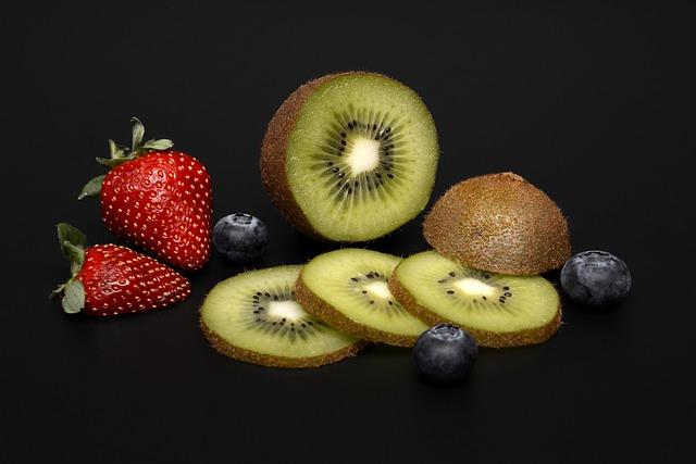 Strawberries, Blueberries, Kiwi, Healthy, Fruits