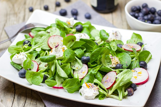 Salad, Spring, Radishes, Blueberries, Lamb's Lettuce