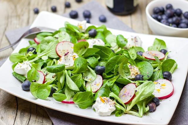 Salad, Spring, Radishes, Blueberries, Lamb's Lettuce