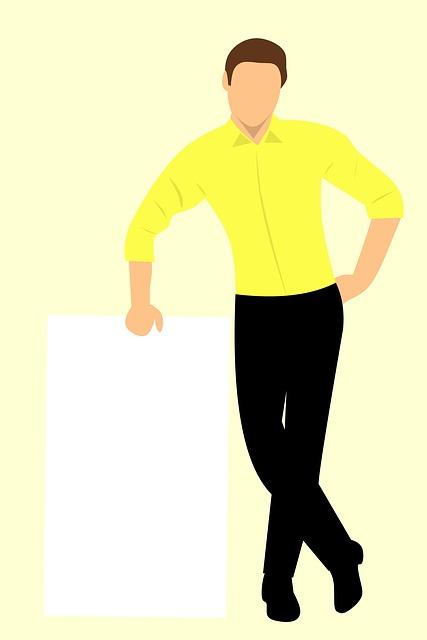 Business Man, Blank, Poster, Board, Advertisement