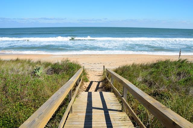 Beach, Walkway, Boardwalk, Ocean, Sea, Waves, Nature