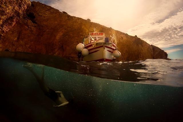 Croatia, Man, Swimming, Boat, Mountains, Sunrise