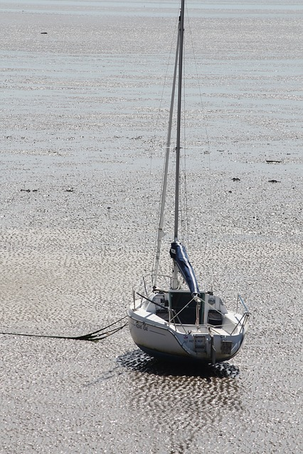 Sailboat, Tide, France, Boat