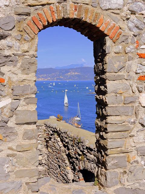 Window, Sea, Stone, Boat, Porto Venere, Liguria, Italy