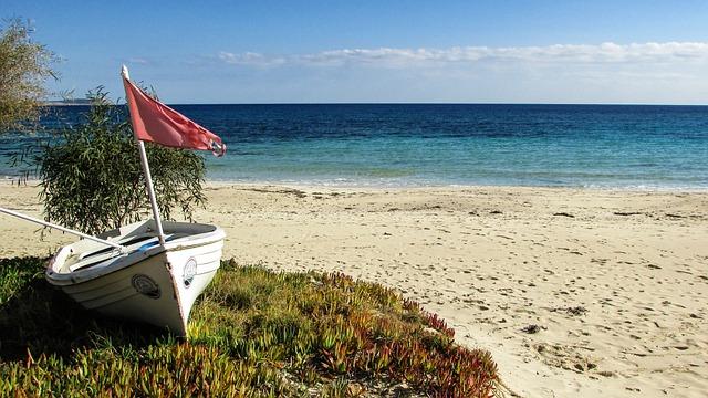 Cyprus, Ayia Napa, Makronissos Beach, Beach, Boat