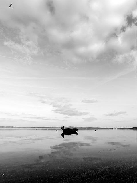 Boat, Reflections, Lake, Bracciano, Lazio, Italy