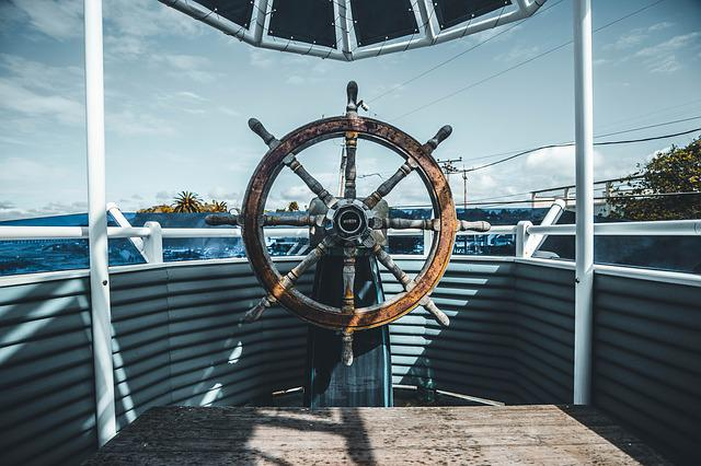 Boat, Clouds, Rustic, Rusty, Sky, Steering Wheel, Trees