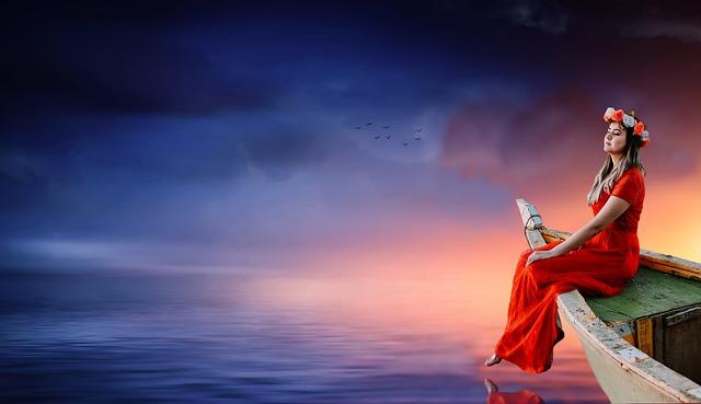 Woman, Boat, Sky, Sunset, Waters, Dusk, Sea, Romantic