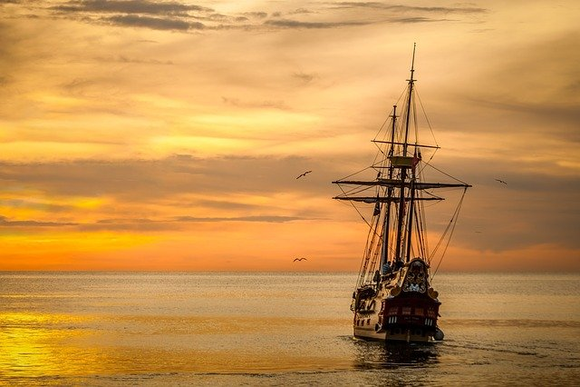 Sunset, Boat Sea, Ship