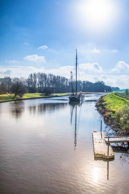 Boat, Sailing, Canal, Sail, Ship, Sun, Sky, Water