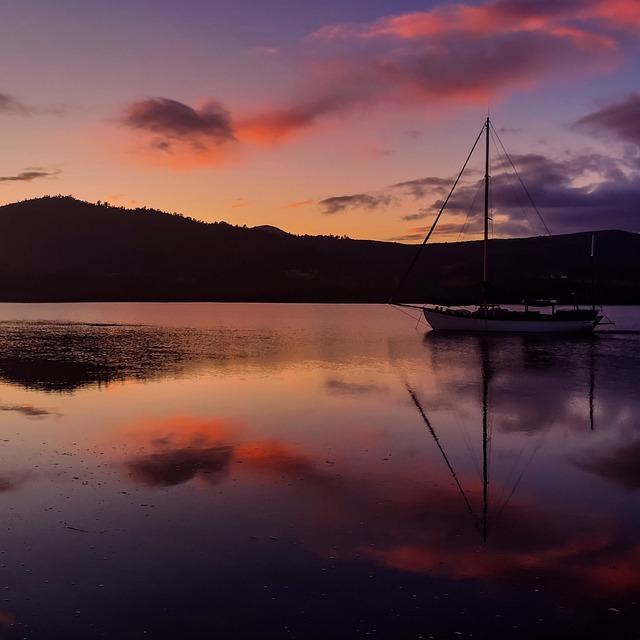 Sunset, Dawn, Reflection, Water, Dusk, Sunrise, Boat