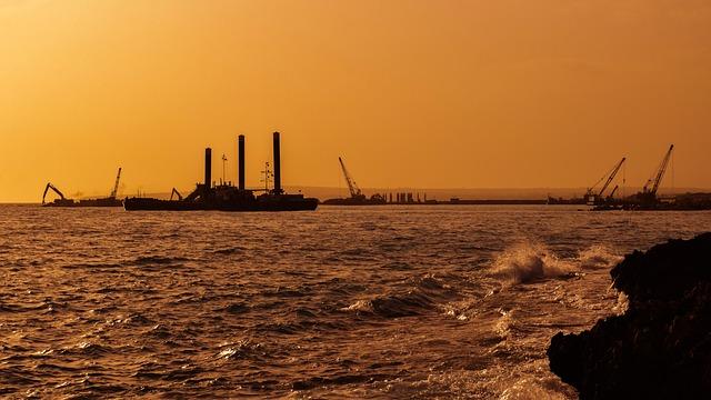 Sunset, Shadows, Silhouettes, Cranes, Boat, Coast