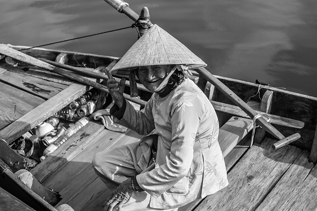 Woman, Hoi An, Boat, Black White, Travel, Vietnam