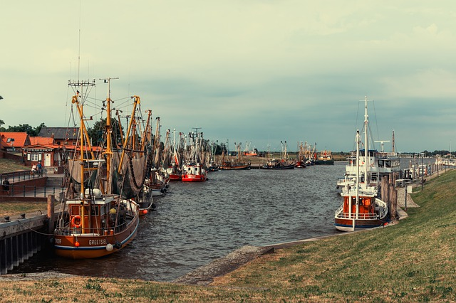 Port, Boats, Fishing Boats, Water, Room Clouds, Germany