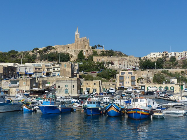 Boats, Port, Church, Gozo, Harbour Entrance, Mgarr