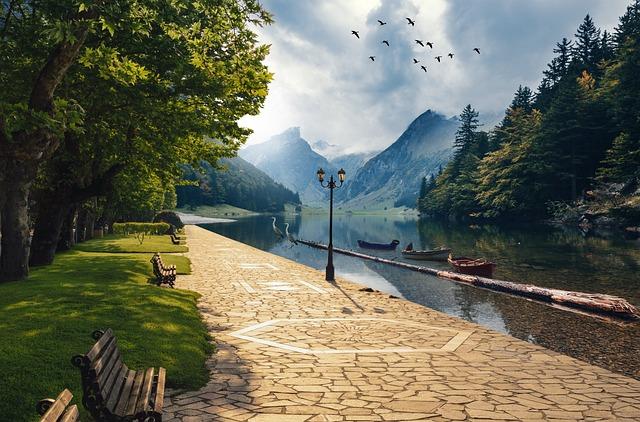 Fantasy, Landscape, Mountains, Boats, Log, Park, Bench
