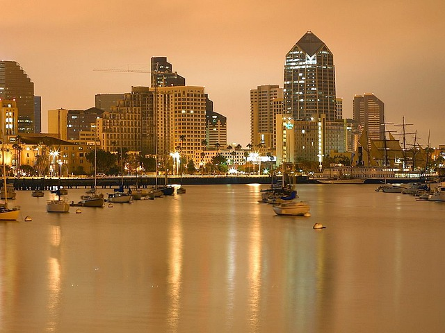 San Diego, Boats, Evening, Night, Lights, Long Exposure