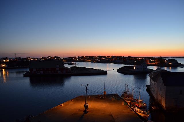 Night, Light, Sea, Boats, Island, Islets, Norway