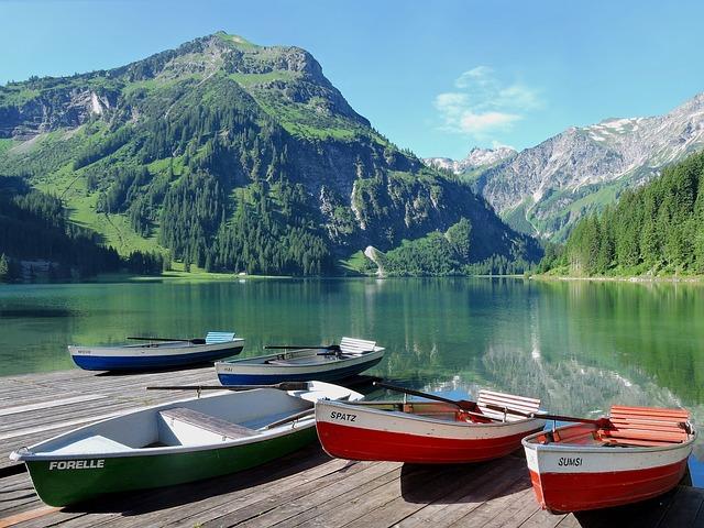 Boats, Rowing Boats, Vilsalpsee, Tannheim, Tyrol