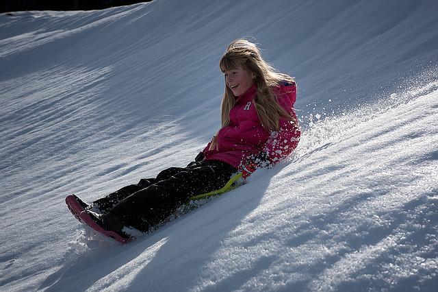 Child, Girl, Winter, Snow, Ride On, Bob, Slip, Downhill