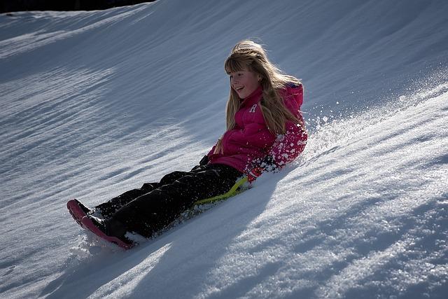 Child, Girl, Winter, Snow, Ride On, Bob, Slip, Downhill