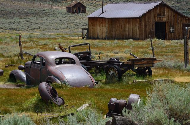 Ghost Town, Car, Old, Rusty, Farm, Bodie, Rustic