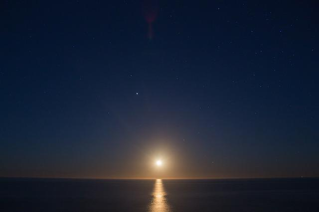 Sol, Moon, Sky, No Person, Sunset, Body Of Water