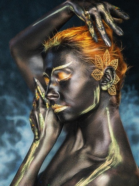 Body Painting, Makeup, Cosplay, Portrait, Dark Skin