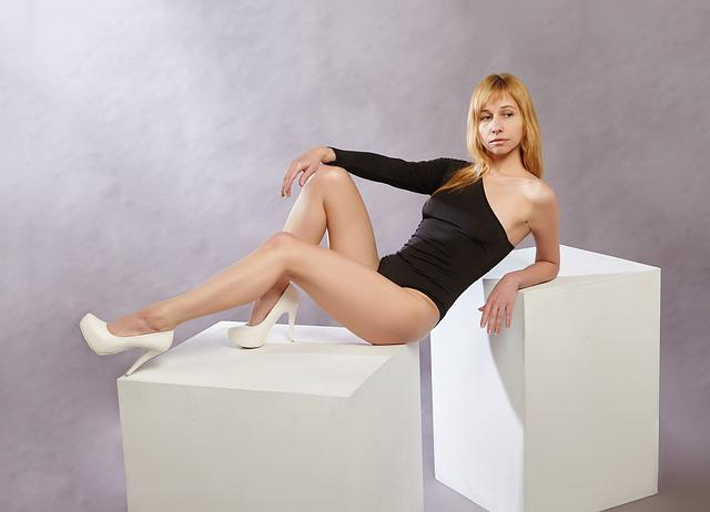 Model, Posture, Legs, Bodysuit, Cube, Studio, Girl