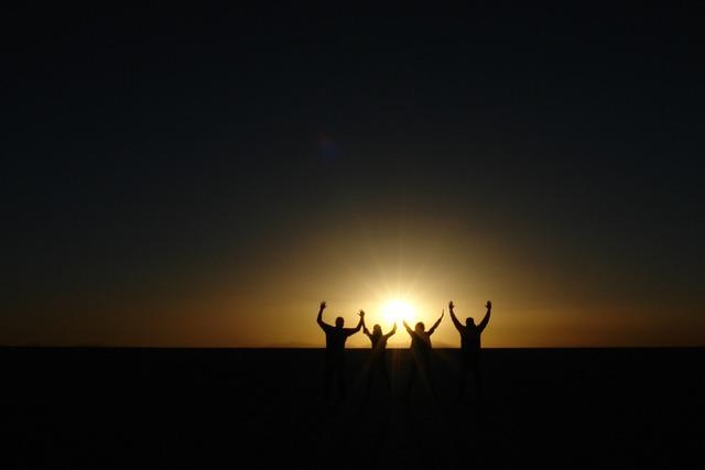 Setting Sun, People, Salar Uyuni, Horizon, Bolivia