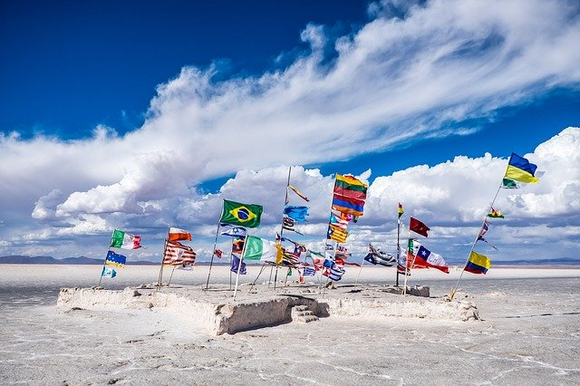 Bolivia, Flags, Salt Lake, Lake, Wind, Sky, Clouds