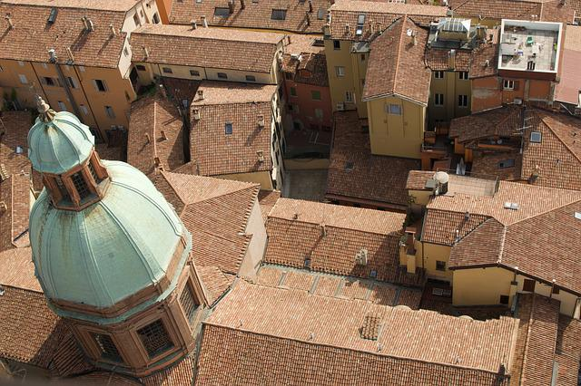 Tiles, Church, Terracotta, Italy, Bologna, Rooftops